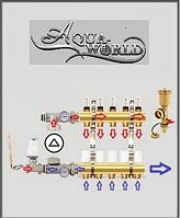 Коллектор для тёплого пола в сборе на 3 выхода Aqua World, фото 1
