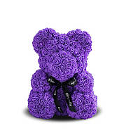 Мишка из 3D роз 40 см Фиолетовый с бантом. В подарочной коробке. Доставка бесплатно по Украине!