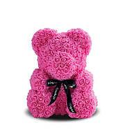 Мишка из 3D роз Розовый с бантом 40см. В подарочной коробке.