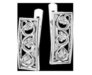 Серьги серебряные Вензеля 41150