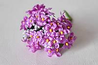 Веточки незабудки 6 шт/уп. сиреневого цвета с листиком и тычинками, фото 1