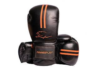 Боксерские перчатки PowerPlay 3016 черно-оранжевый 8 унций