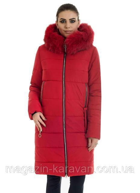 Пуховик зимний на женщин ЛД47 песец красный (42-56)