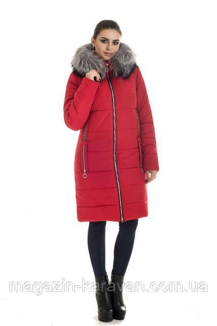 Пуховик зимний на женщин ЛД47 чернобурка красный (42-56)