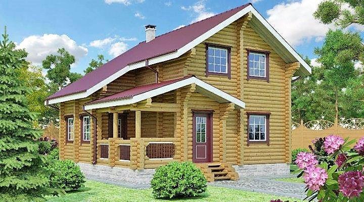Деревянный дом из оцилиндрованного бревна 8х8 м