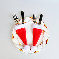 Шапочки санта клауса для сервировки стола
