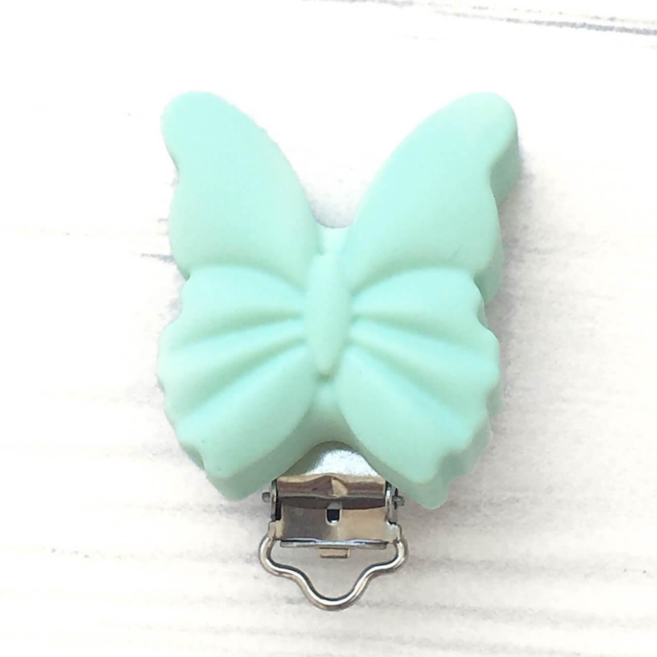 Клипса Бабочка (мята), силиконовая ПРИЩЕПКА для соски