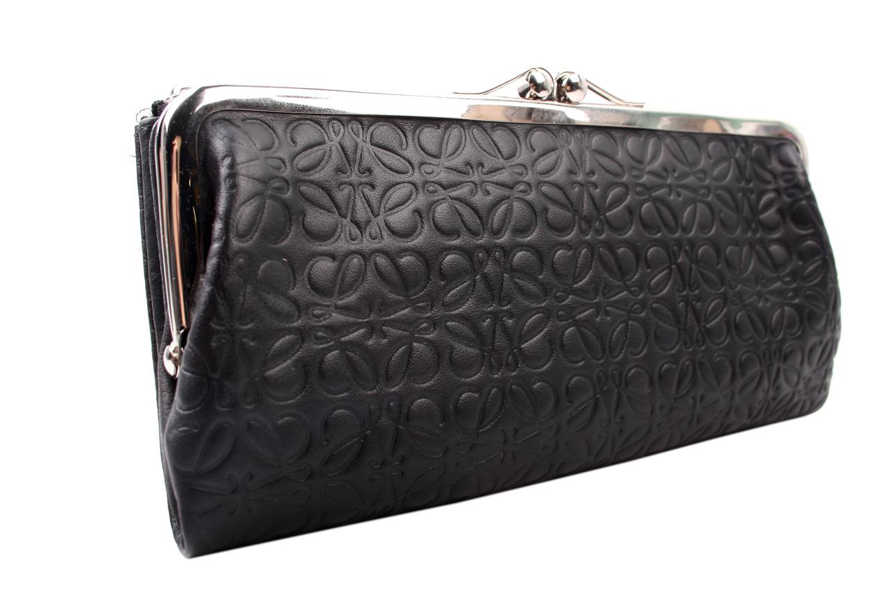 Элегантный женский кошелек LOEWE из натуральной кожи, цвет черный
