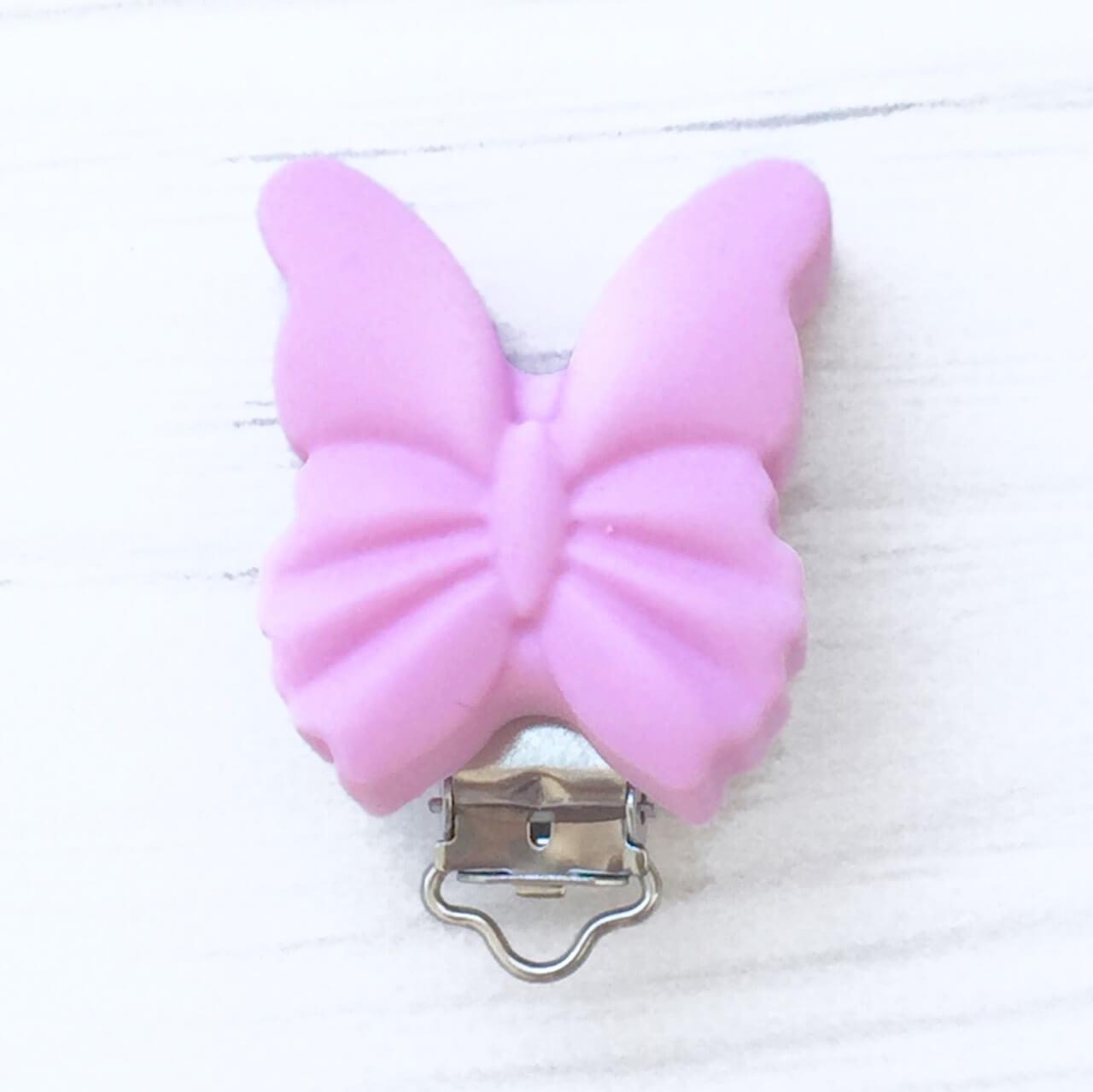 Клипса Бабочка (лаванда), силиконовая ПРИЩЕПКА для соски