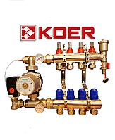 Коллектор для теплого пола Koer на четыре контура в сборе с насосом, фото 1