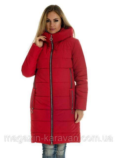 Теплый женский пуховик ЛД47-1 красный (42-56)