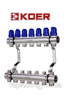 """Коллекторный блок с термостатическими клапанами Koer KR.1100-07 1""""x7 WAYS"""