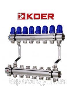 """Коллекторный блок с термостатическими клапанами Koer KR.1100-08 1""""x8 WAYS"""