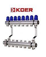"""Коллекторный блок с термостатическими клапанами Koer KR.1100-08 1""""x8 WAYS, фото 1"""
