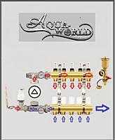 Коллектор в сборе на 9 выходов Aqua World для тёплого пола