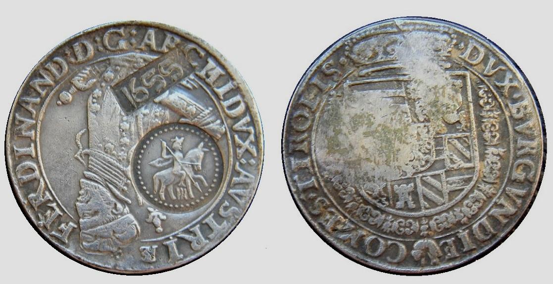 1 талер Фердинант с надчеканом ''Ефимок'' 1655 г. Царская Россия