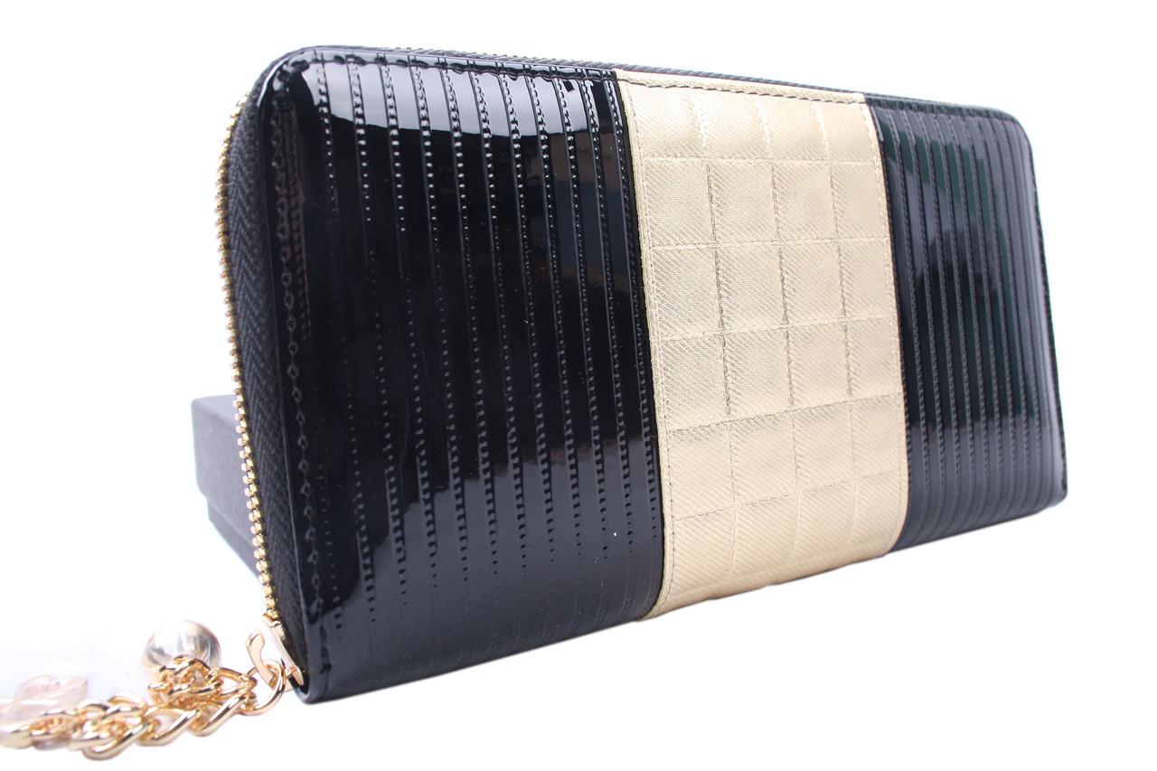 Стильный женский кошелек Sonia Rykiel лаковая кожа, цвет черный с бронзой