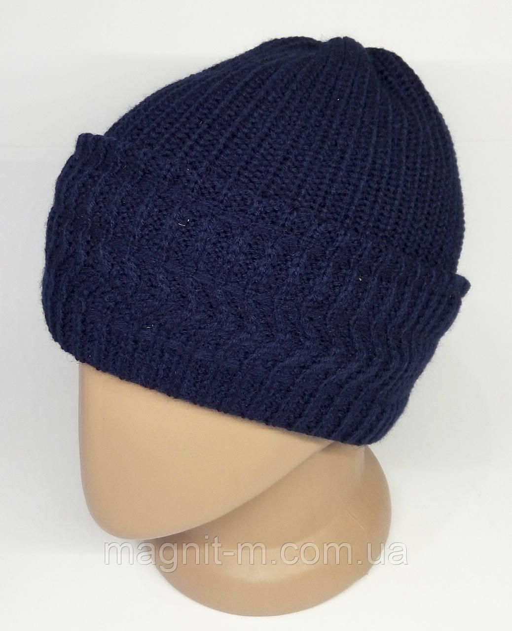 Жіноча зимова шапка з відворотом. Подвійна в'язання. Синя.