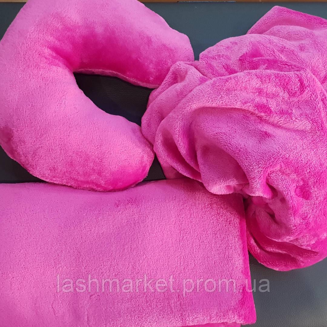 Набор 3в1: подушка, плед, чехол (махра)Цвет: фуксия