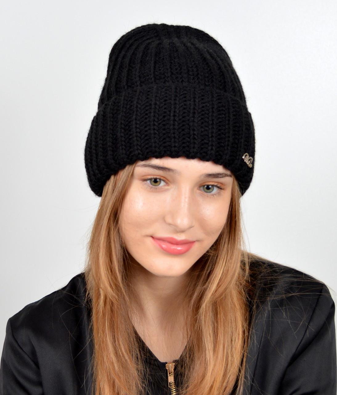 Молодежная шапка на флисе 3377 Черный