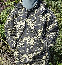 Куртка зимова довга темний Піксель з капюшоном хутро та синтепон р. 48-50