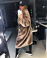 Женское красивое пальто свободного кроя из эко-меха кролика REX(цвета) , фото 1