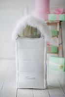 Конверт для новорожденного, белый с опушкой