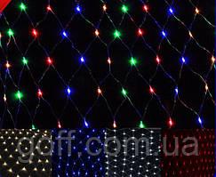 Электрогирлянда светодиодная 120 Led, 1,5x1,5м, прозрачный провод
