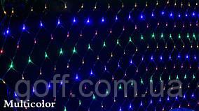 Гирлянда сетка светодиодная, 120 Led, 1,5x1,5 м, прозрачный провод Мультиколор