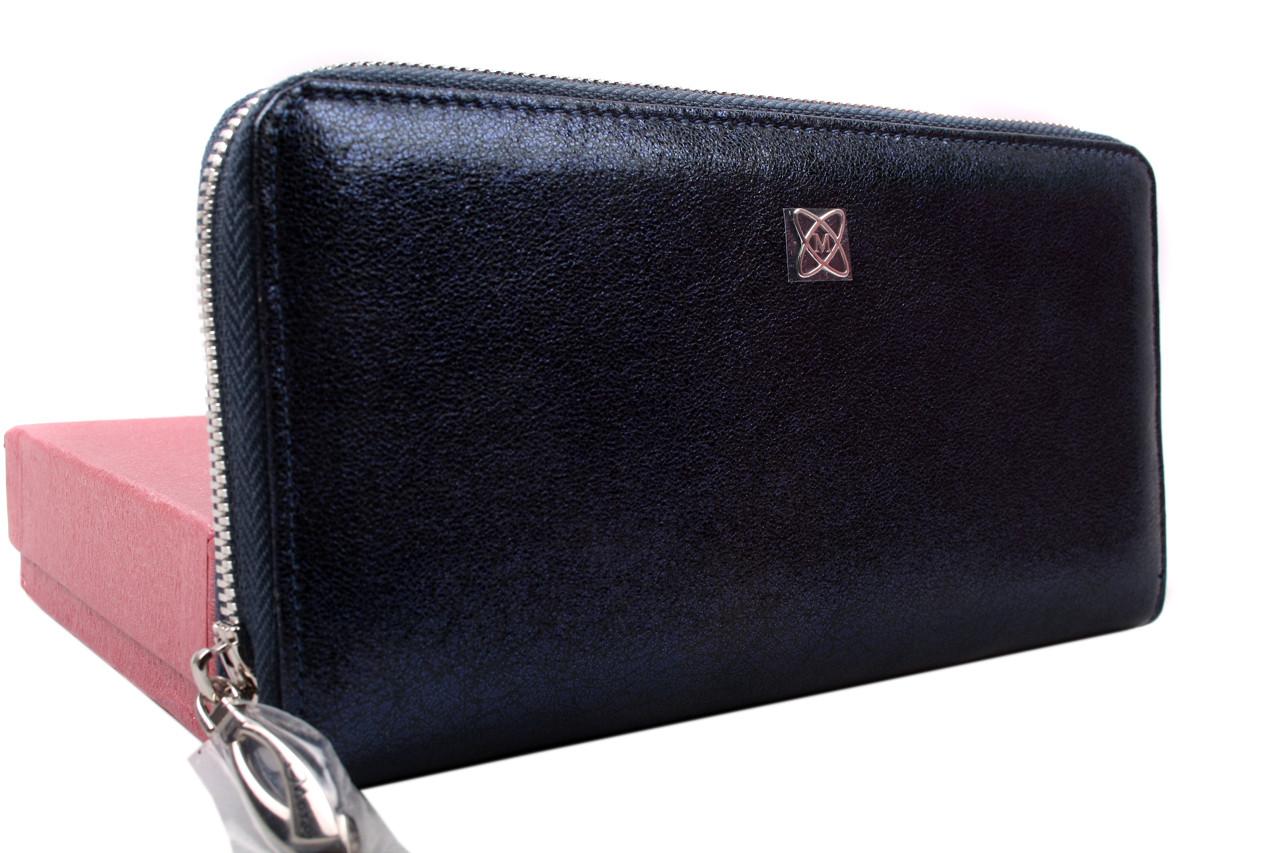 Элегантный женский кошелек MORO&JENNY натуральная кожа, цвет синий