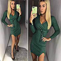 Женское облегающее платье с разрезом ткань вязка с люриксом производство Китай зеленое, фото 1