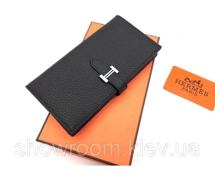 Женский черный кожаный кошелек в стиле Hermes (H-5123)
