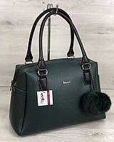Деловая зеленая сумка 55908 саквояж мягкая два отделения, фото 1