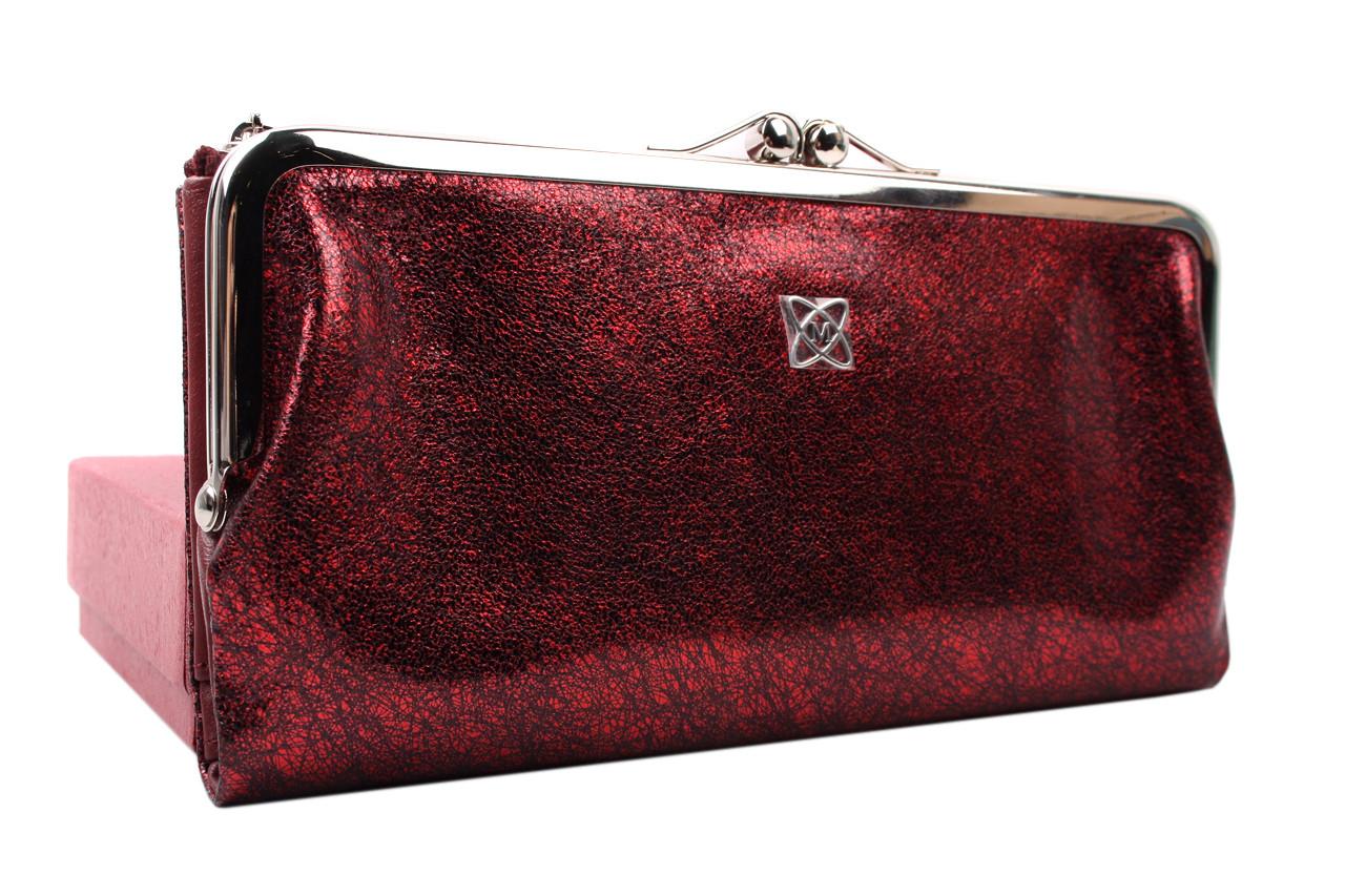 Элегантный женский кошелек MORO&JENNY натуральная кожа, цвет бордо