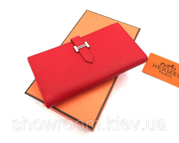 Женский красный кожаный кошелек в стиле Hermes (H-5123)