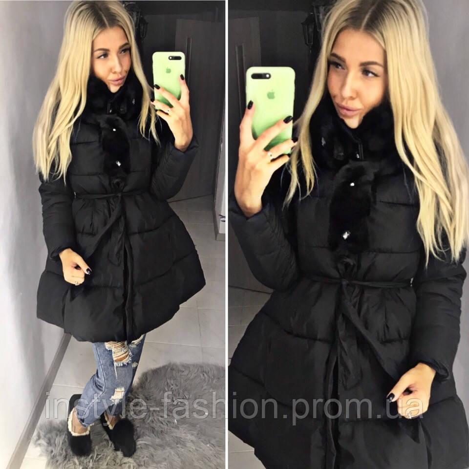 Теплое пальто пуховик с пышной юбкой под пояс ткань плотная плащевка, холофайбер Китай цвет черный