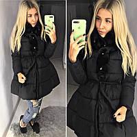 Теплое пальто пуховик с пышной юбкой под пояс ткань плотная плащевка, холофайбер Китай цвет черный, фото 1