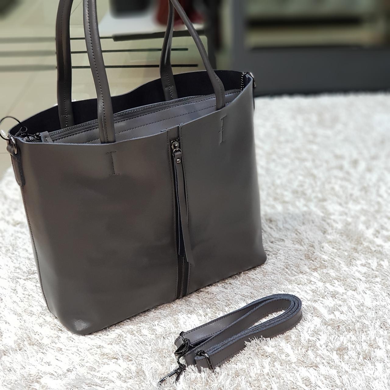 Женская т. серая сумочка из натуральной кожи