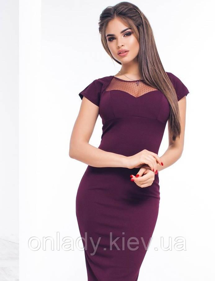 719847606 Бордовое офисное платье с сеткой на груди, винный, S - Интернет-магазин