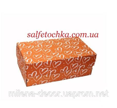 Картонная коробка 32*18*12 см. оранжевая с сердечками