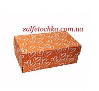 Картонная коробка 32*18*12 см. оранжевая с сердечками, фото 1