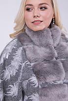 Элегантное пальто-пончо с мехом под норку большие размеры 46-54, фото 3