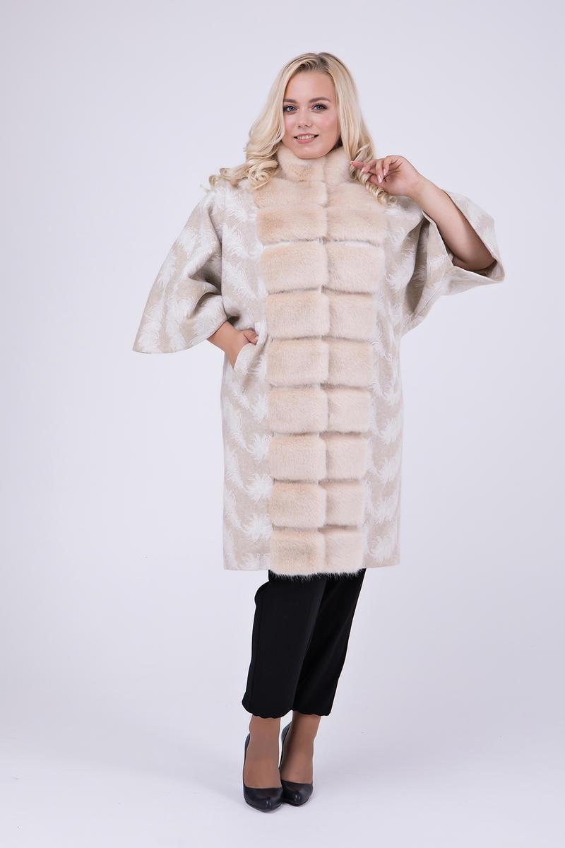 Элегантное пальто-пончо с мехом под норку большие размеры 46-54