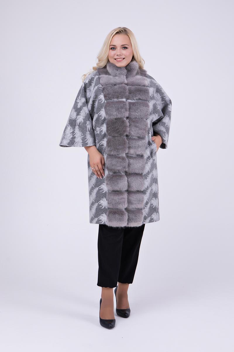 Элегантное пальто-пончо с мехом под норку   большие размеры 46-60