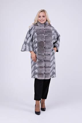Элегантное пальто-пончо с мехом под норку   большие размеры 46-60, фото 2