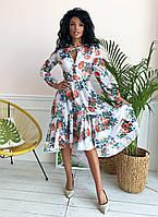 """Приталенное шифоновое платье в цветочек """"Сильвия"""" с ассиметричной расклешенной юбкой"""