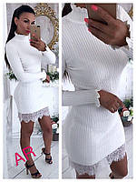 Женское платье с кружевом ткань машинная вязка кашемир фабричный Китай белое