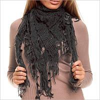 Серый шарф женский с узорами