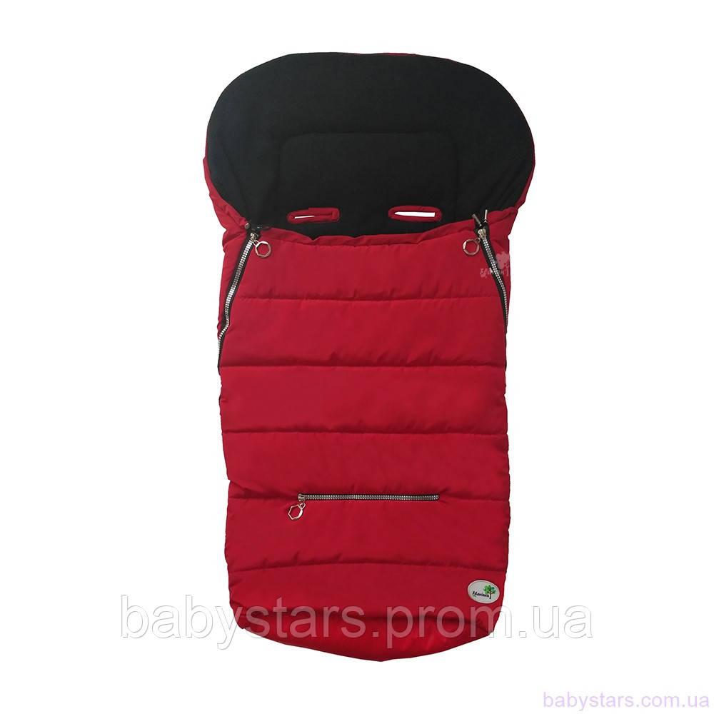 Конверт в коляску с прорезями для ремней, красный