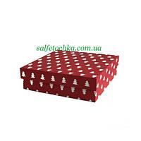 Картонная коробка 33*33*10  см. красная с ёлками